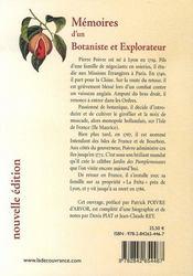 Mémoires d'un botaniste et explorateur - 4ème de couverture - Format classique