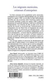 Les migrants mexicains, créateurs d'entreprise ; processus de désalarisation des migrants internationaux - 4ème de couverture - Format classique