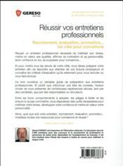 Réussir vos entretiens professionnels ; recrutement, évaluation, motivation... les clés pour convaincre (2e édition) - 4ème de couverture - Format classique