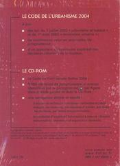 Code De L'Urbanisme 2004 ; Commente, 9000 Arrets, Texte Integral Sur Cd-Rom - 4ème de couverture - Format classique