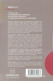 La fabrique réactionnaire ; antisémitisme, spoliations et corporatisme dans le cuir (1930-1950) - 4ème de couverture - Format classique
