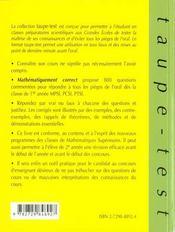Mathematiquement Correct 800 Questions Pieges Pour Reussir L'Oral De Maths Prepas Mpsi-Pcsi-Ptsi - 4ème de couverture - Format classique