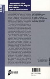 La communication interculturelle en anglais des affaires à l'usage des étudiants francophones - 4ème de couverture - Format classique