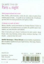 Paris by night ; tous les bons plans pour sortir à Paris - 4ème de couverture - Format classique