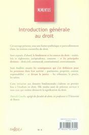 Introduction Generale Au Droit (10e Edition) - 4ème de couverture - Format classique