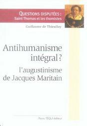 Antihumanisme intégral ? l'augustinisme de jacques maritain - Intérieur - Format classique