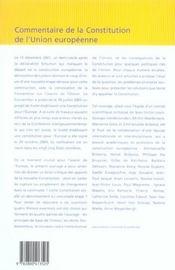 Commentaire De La Constitution De L Union Europeenne - 4ème de couverture - Format classique