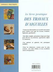 Livre Pratique Des Travaux D'Aiguille (Le) (Petit Forma - 4ème de couverture - Format classique