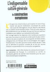 Construction europeenne / l'indispensable de la culture generale - 4ème de couverture - Format classique