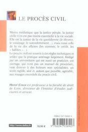 Le proces civil - 2e ed. (2e édition) - 4ème de couverture - Format classique