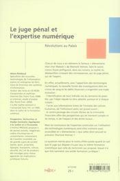 Le juge pénal et l'expertise numérique ; révolutions au palais - 4ème de couverture - Format classique