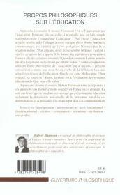 Propos philosophiques sur l'education - 4ème de couverture - Format classique