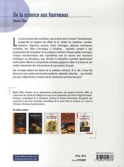 De la science aux fourneaux - 4ème de couverture - Format classique