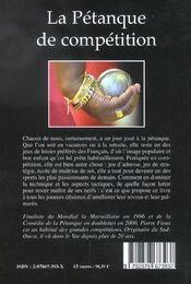 La petanque de competition - 4ème de couverture - Format classique
