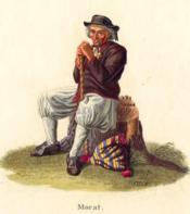 Morat. Vieillard rasé, assis, s'appuyant sur sa canne, la pipe à la bouche. - Couverture - Format classique