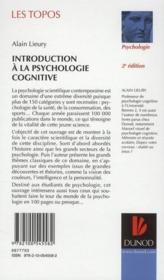 Introduction à la psychologie cognitive (2e édition) - 4ème de couverture - Format classique