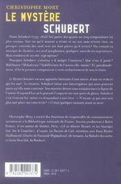 Le mystere schubert - 4ème de couverture - Format classique
