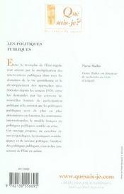 Les politiques publiques (6e edition) qsj 2534 - 4ème de couverture - Format classique