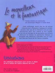 Le merveilleux et le fantastique ; anthologie pour le cycle 3 - 4ème de couverture - Format classique