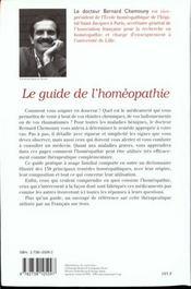 Le guide de l'homeopathie - 4ème de couverture - Format classique