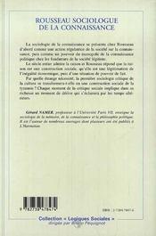 Rousseau Sociologue De La Connaissance ; De La Creativite Au Machiavelisme - 4ème de couverture - Format classique