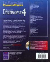 Le Macmillan Dreamweaver 4 - 4ème de couverture - Format classique