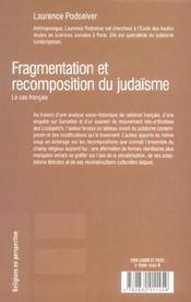 Fragmentation et recomposition du judaisme: le cas francais - 4ème de couverture - Format classique