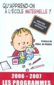 Qu'apprend-on à l'école maternelle ? (édition 2006-2007) - Intérieur - Format classique
