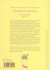 Libres cahiers pour la psychanalyse n13 passions et caracteres - 4ème de couverture - Format classique