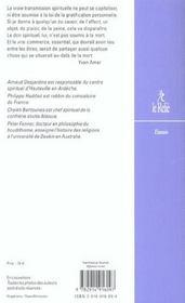 La transmission spirituelle - 4ème de couverture - Format classique