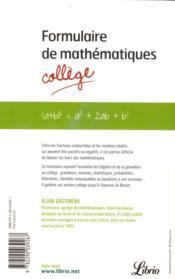 Formulaire de mathématiques ; collège - 4ème de couverture - Format classique