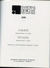 Les Entretiens De Bichat Pitie Salpetrerie 1978 - Chirurgie Et Specialites - Couverture - Format classique