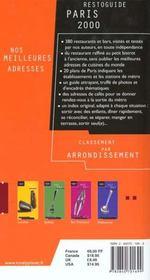 Restoguide De Paris 2000 - 4ème de couverture - Format classique