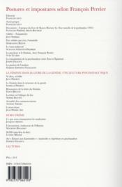 Les Lettres De La Societe De Psychanalyse Freudienne N.34 ; Postures Et Impostures Selon François Perrier - 4ème de couverture - Format classique