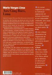 Aux Cinq Rues, Lima - 4ème de couverture - Format classique