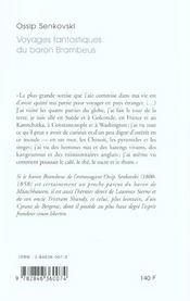 Les Aventures Extraordinaires Du Baron Brambeus - 4ème de couverture - Format classique