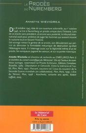 Le proces de nuremberg - 4ème de couverture - Format classique