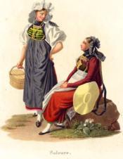 Soleure. Deux jeunes femmes en conversation. L'une, assise, de profil à gauche, l'autre debout en face la tête de 3/4 à droite. Costumes Suisses par G. Lory fils et F.-W. Moritz - Couverture - Format classique