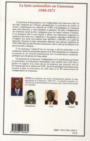 La lutte nationaliste au Cameroun 1940-1971 - 4ème de couverture - Format classique