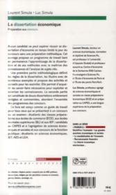 La dissertation économique - 4ème de couverture - Format classique