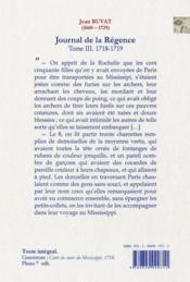 Journal de la Régence t.3 (1718-1719) ; le Mississippi - 4ème de couverture - Format classique