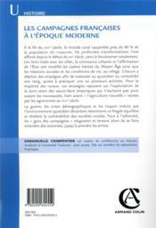 Les campagnes françaises à l'époque moderne - 4ème de couverture - Format classique