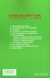 Droit civil t.6 ; les obligations ; regime general ; 11e edition; edition 2001 - 4ème de couverture - Format classique