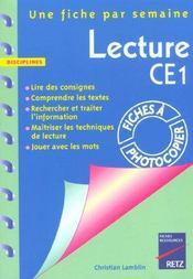 Lecture ; CE1 ; fiches à photocopier - Intérieur - Format classique