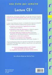 Lecture ; CE1 ; fiches à photocopier - 4ème de couverture - Format classique