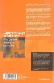 L'apprentissage collaboratif ; plus qu'une méthode collective ? - 4ème de couverture - Format classique