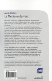 La mémoire du vent - 4ème de couverture - Format classique