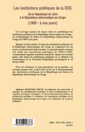 Les institutions politiques de la RDC ; de la République du Zaïre à la République démocratique du Congo (1990 - à nos jours) - 4ème de couverture - Format classique