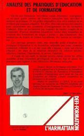 Analyse Des Prat. D'Education Et De Formation - 4ème de couverture - Format classique