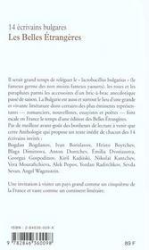 Les Belles Etrangeres ; Quatorze Ecrivains Bulgares - 4ème de couverture - Format classique